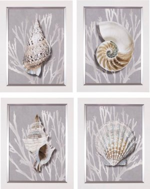 Shell Coral Silver On Gray I – IV  Four Piece Set