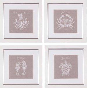 Underwater Life X – XII – XIII – XVI Greige Four Piece Set